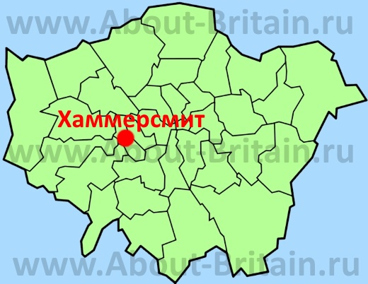 Хаммерсмит на карте Лондона