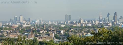 Вид на Лондон с холмов Хэмпстеда