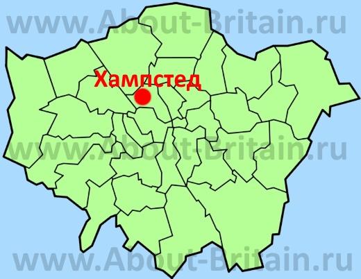 Хэмпстед на карте Лондона