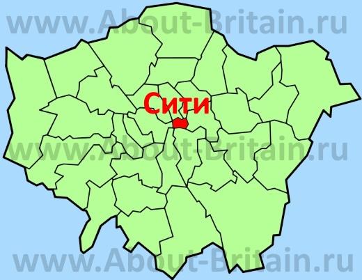 Лондонский Сити на карте Лондона