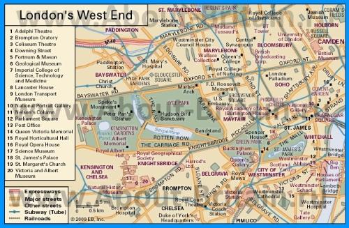 Карта Вест-Энда